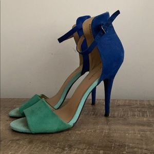 REDUCED! Zigi Soho Blue and Green Suede Heels, 8.5